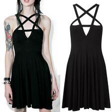 US Women Halloween Gothic Pentagram Neck Dress Party Mini Sundress Summer Skirt