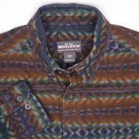 Woolrich Mens Flannel Shirt L Brown Blue Green Southwestern Blanket Print