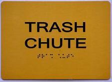 New listing Trash Chute Sign - Gold(Aluminium, Gold/Black,Size 5x7).(ref1820)
