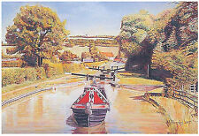 Top Lock Canal Picture Print Painting Poster Beautiful Barge by Kevin Parrish