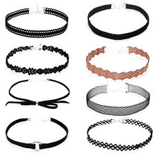 8x Choker Necklace Rhinestone Velvet Suede String Wrap Black Tie Tattoo Jewelry