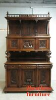 Antique Victorian Monumental German Breakfront Carved Figure Hutch China Cabinet
