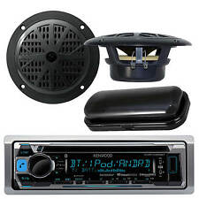 "Kenwood New Marine CD Radio iPhone iPod Input 5.25"" Black Speakers, Stereo Cover"