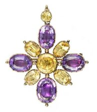 7Ct Oval Cut Purple Yellow CZ Holy Double Cross Pendant Yellow Gold Finsh Silver