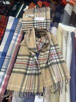 Lochcarron 100% Lambswool tartan Scarf | Camel Yarrow Plaid | Made in Scotland
