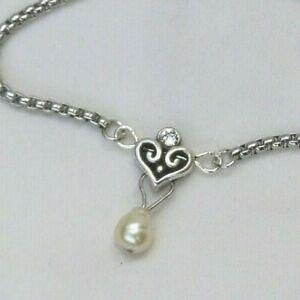 Altered Brighton Alcazar Silver & Crystal Dangle Pearl Pendent Necklace