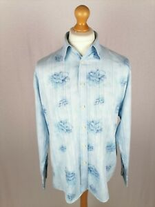 Mens Ben Sherman Long Sleeve Shirt Size Large Relaxed Fit Blue Floral