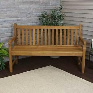 Sunnydaze Teak Outdoor Patio Garden Bench - Mission Style - 2-Person - 59-Inch