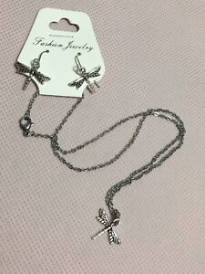 """Silver Dragonfly Necklace Earrings Set, 18"""" Long Hypoallergenic!"""
