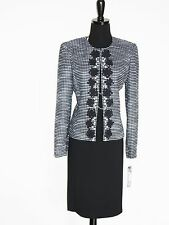 NEW $$$ TAHARI 2PC SKIRT SUIT 6 BLACK WHITE BOUCLE TWEED PEARL EMBROIDERED CHIC