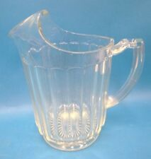Heavy Clear Cut Glass Serving Beverage Water Beer Pitcher Kitchen Vintage Used