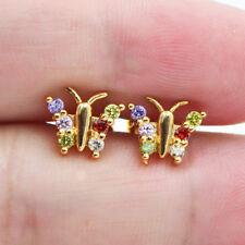 18K Yellow Gold Filled Lovely Butterfly Rainbow Zircon Topaz Women Stud Earrings