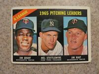 TOPPS 1965 AMERICAN LEAGUE PITCHING LEADERS MUDCAT, STOTTLEMEYER, KAAT CARD #224