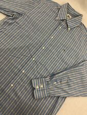 Lacoste Button Up Dress Shirt Blue Plaid Mens Size 42 L Large