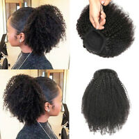 Clip on 100% Kinky Curly Human Hair Ponytail Afro Puff Drawstring Bun Updo Cover