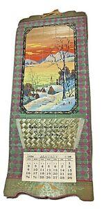 1938 Fallon Laundry winter scene ad wall calendar Nevada bamboo scroll Japan