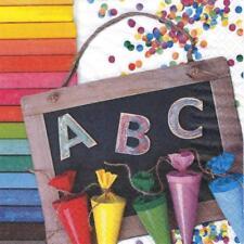 20 Servietten ABC 123 Schulanfang Einschulung Kinder Tischdeko bunt Schule Deko