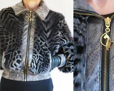 BABY PHAT GRAY/BLACK ZEBRA DESIGN FAUX FUR JACKET FAUX SNAKE TRIM LEOPARD PRINT