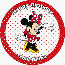 MINNIE MOUSE RED PERSONALISED EDIBLE ICING IMAGE PARTY CAKE TOPPER ROUND