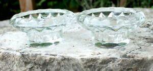 paire de bougeoir en verre moulé ( france )