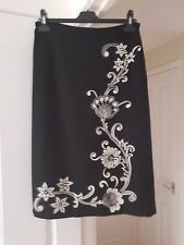 Pretty Black Multi Straight Skirt, Fully Lined, Size 10, VGC
