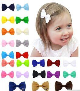 """3"""" Grosgrain Ribbon Bow Hair Clip Aligator Pins Girls Babies"""