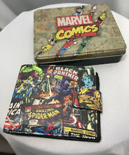 New Marvel Comics Hulk, SpiderMan Retro Men's Black Wallet & Collectible Tin Box