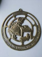 "Vintage Charming Brass Wall Plaque ""Its Pleasant To Labour For Those We Love"""