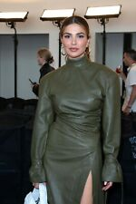 Women Stylish Real Lambskin Genuine Leather Bell Sleeves Celebrity Dress
