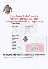 Paddy sowden accrington stanley 1956-1958 rare original hand signed coupe/carte
