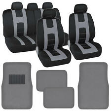 Complete Black / Gray Front and Rear Set Car Seat Covers and Gray Floor Mats