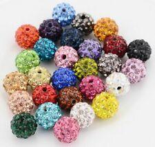 100 Pcs Cz Crystal Shamballa loose Beads Pave Disco Balls 10MM mixed color