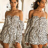 Women Off Shoulder Mini Playsuit Jumpsuit Romper Summer Beach Casual Short Dress