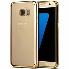 Electroplated Gold Trim Slim Clear Bumper Gel Case Cover for All Samsung Galaxy