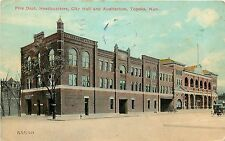 c1910 Postcard; Fire Dept. Headquarters, City Hall & Auditorium, Topeka KS Used