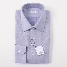 NWT $350 BARBA NAPOLI Blue Woven Houndstooth Check Cotton Dress Shirt 17 x 37