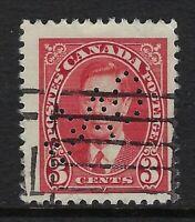 Perfin O1-OAG (Toronto): Scott 233, 3c King George VI Mufti, position 5