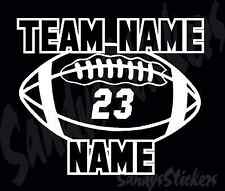 Personalized Football Car Vinyl Decal Sticker - Many Colors - Custom
