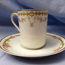 PAIR of Theodore Haviland Limoges Demitasse Cups & Saucers, France, Pink Rose