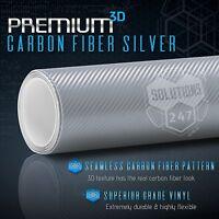 """3D Silver Carbon Fiber Matte Vinyl Wrap Bubble Free Air Release 12"""" x 60"""" In"""