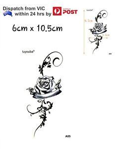 Waterproof Temporary Fake Tattoo Body Sticker Black Rose Flower Banner 6x10.5cm
