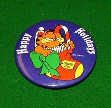 Happy Holidays Christmas Pin, 1978 GARFIELD Vintage Metal Pinback, Badge, Button