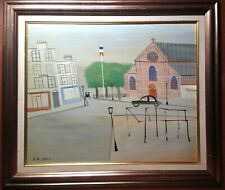 French Art Naïve Oil Playground Cityscape Armand Marie GUERIN (1913-1983)