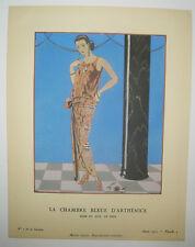 Georges BARBIER - POCHOIR - ART DECO - la chambre bleue d'ARTHENICE 1922