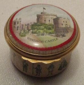 Halcyon Days Enameled Trinket Box Featuring Windsor Castle The Queen's Residence