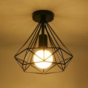 E27 Deckenlampe Hängeleuchte schwarz Metall Draht Vintage Industrial Retro Käfig