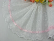 """6""""*1yard delicate embroidered flower white tulle lace trim pink ribbon DIY 0289"""
