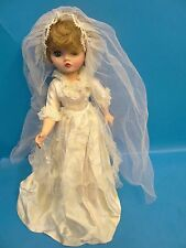 "Vintage Used Rubber & Plastic A Unbranded 19"" Wedding Dress Bride Girl Doll"
