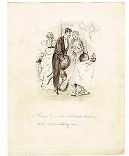 LA VIE PARISIENNE ANNEES 1870 / DESSIN ORIGINAL A LA PLUME