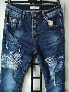 Jewelly Damen Baggy Boyfriend blau Flicken Patches Knöpfe Jeans Hose 34-42 NEU